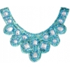 Motif Sequin/beads 27x11.5cm U Shape with crystal stone Turquoise